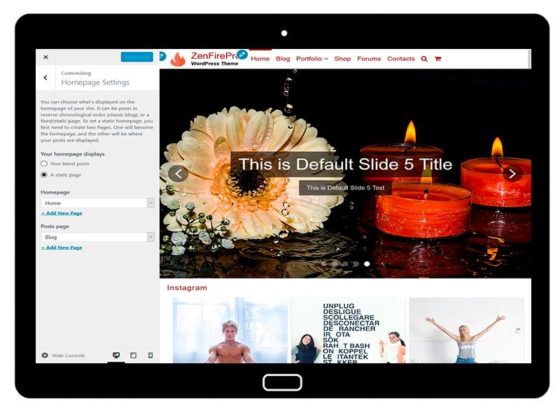 ZenFirePro Customizing Homepage Settings