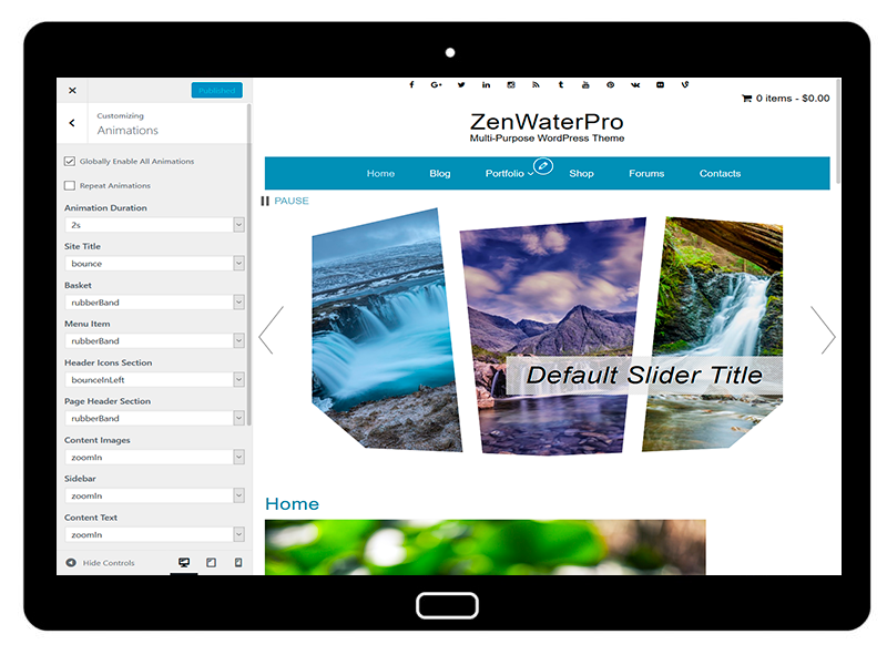 ZenWaterPro Customizing Animations