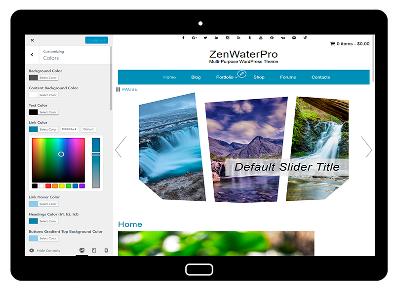 ZenWaterPro Customizing Colors