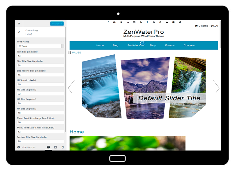 ZenWaterPro Customizing Font
