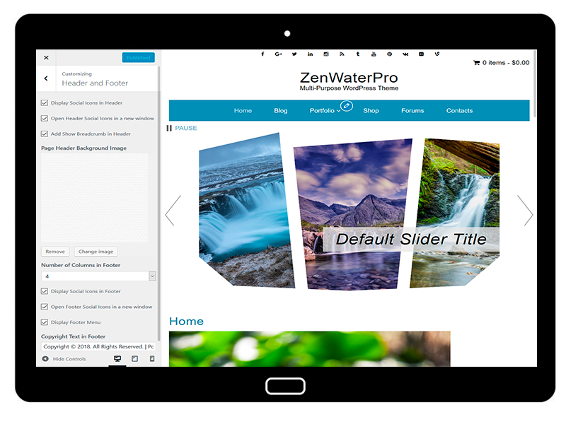 ZenWaterPro Customizing Header and Footer