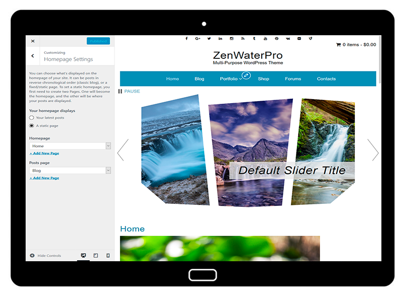 ZenWaterPro Customizing Homepage Settings