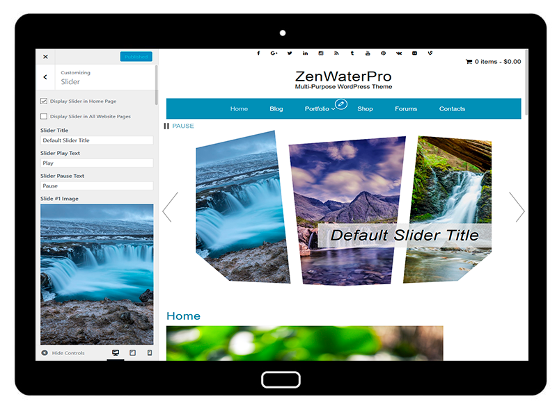 ZenWaterPro Customizing Slider