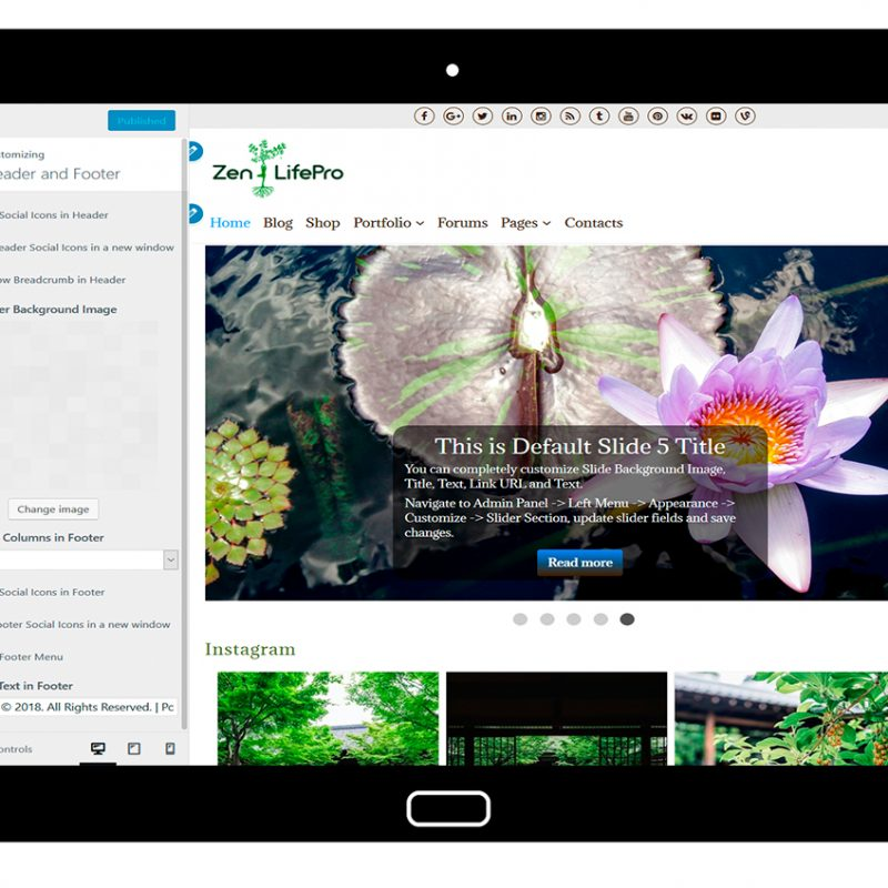 premium-wordpress-theme-zenlifepro-customize-header-and-footer