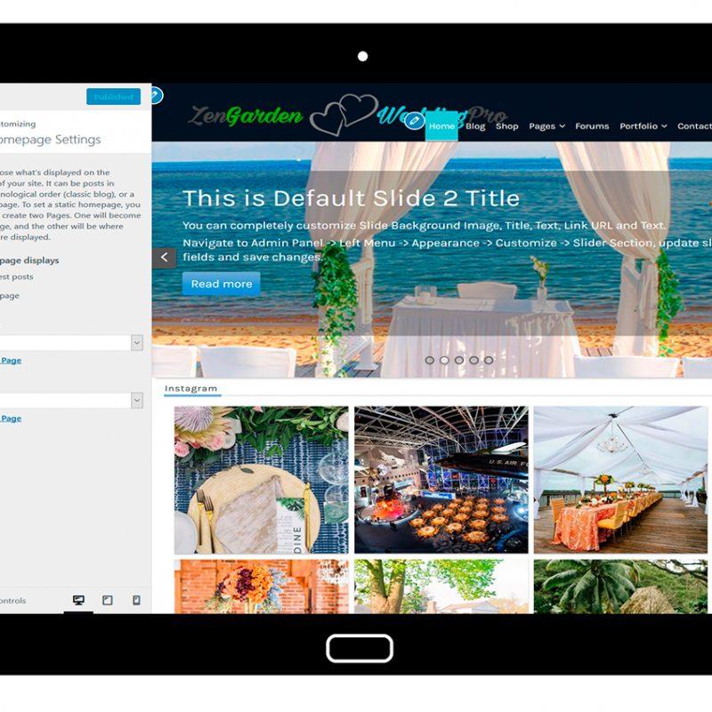 ZenGardenWedding-customizing-homepage-settings