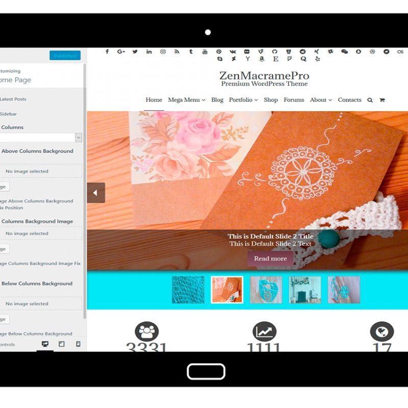 ZenMacramePro-customizing-home-page