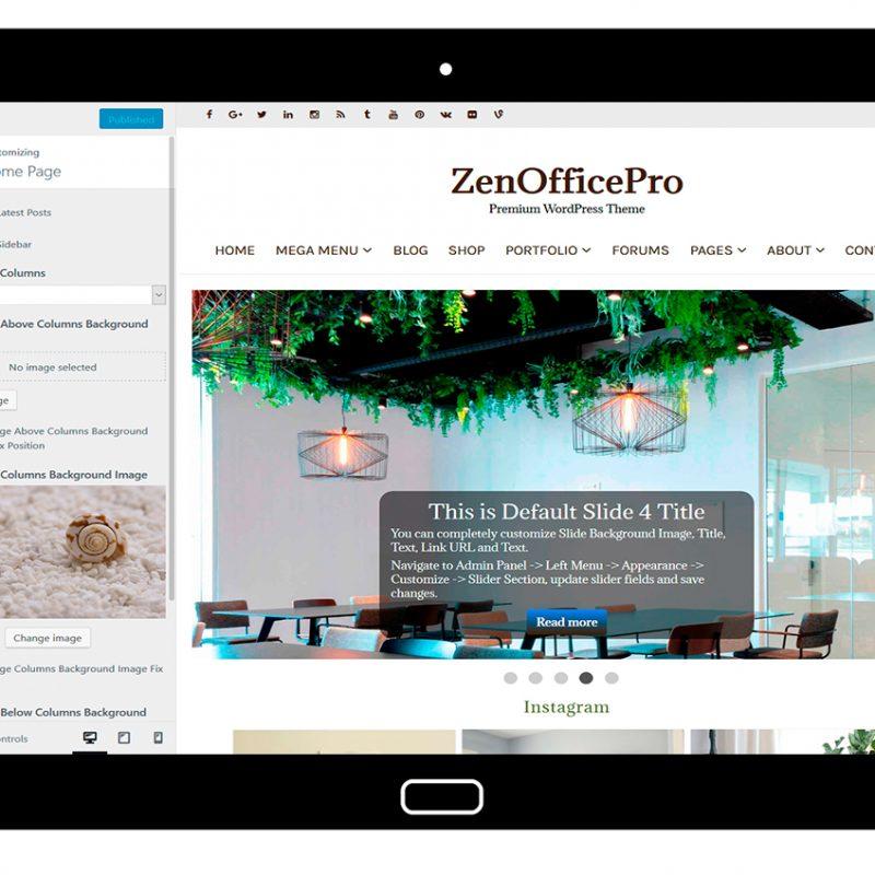 ZenOfficePro-customizing-home-page