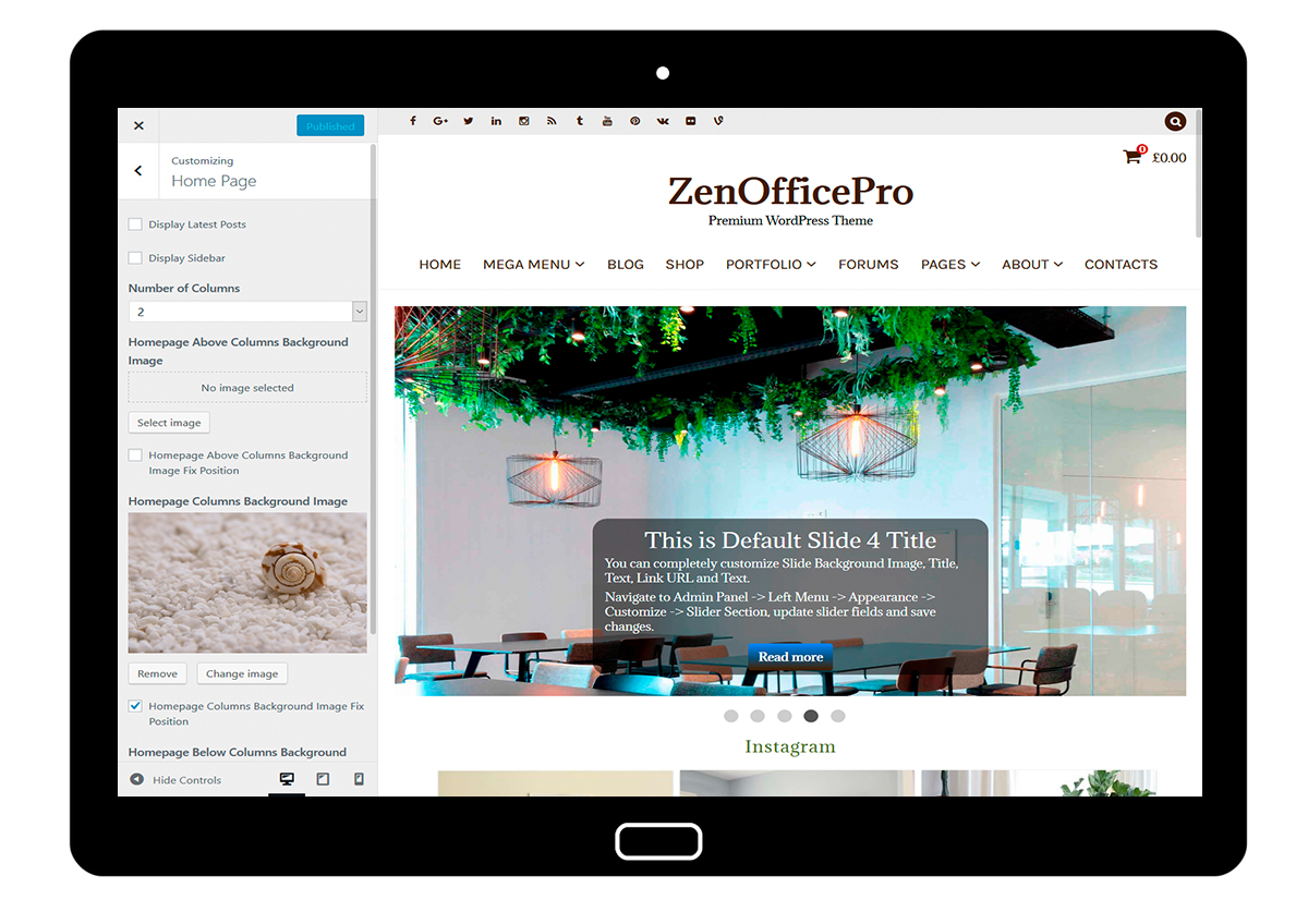 ZenOfficePro-customizing-home-page