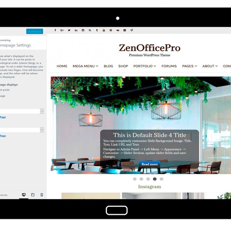 ZenOfficePro-customizing-homepage-settings