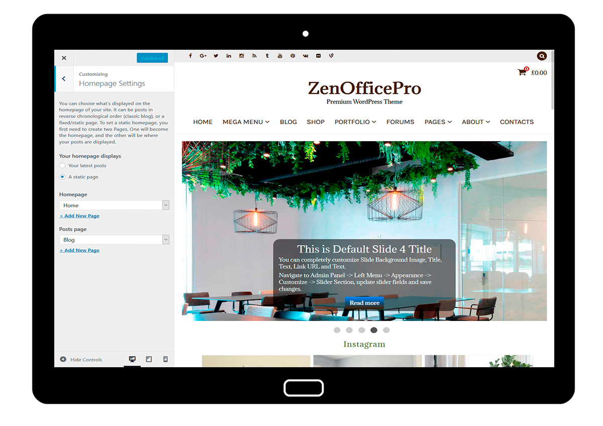 ZenOfficePro-customizing-homepage-settings