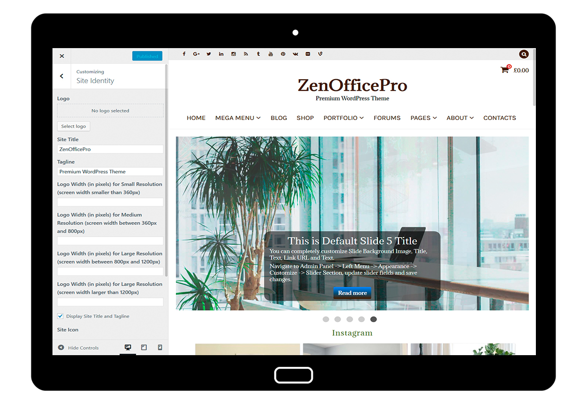 ZenOfficePro-customizing-site-identity