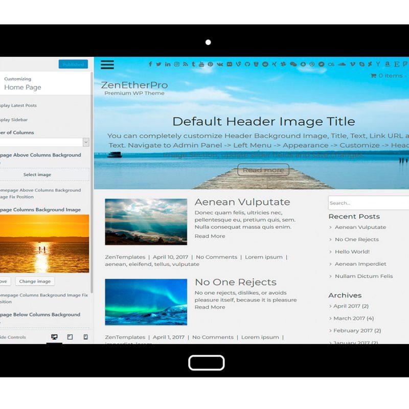 zenetherpro-customizing-homepage