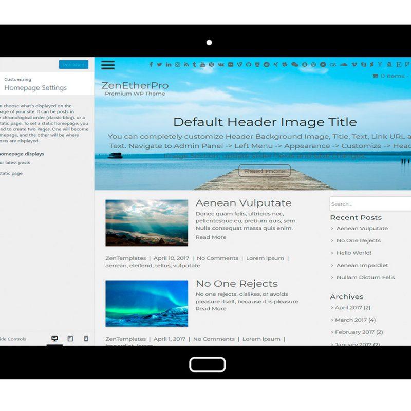 zenetherpro-customizing-homepage-settings